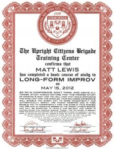 Improv Certificate